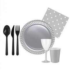 - Siyah Silver Sofra Seti 8 Kişilik Set