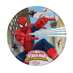 - Spiderman Savaşçı Karton Tabak (23 cm) 8'li Paket