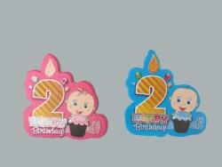 - 2 Yaş Happy Birthday Pembe Sticker