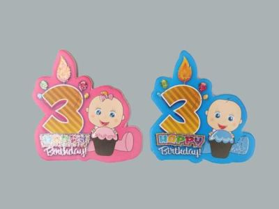 3 Yaş Happy Birthday Pembe Sticker