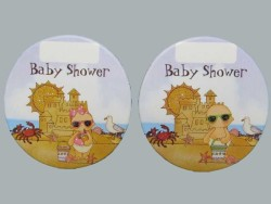 - Bebek Tatilde Baby Shower Pembe Sticker