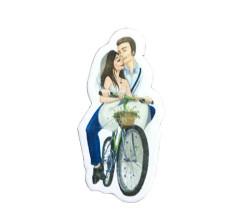 - Gelin-damat Çiçekli Bisikletli Sticker
