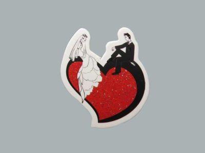 Gelin Damat Kalp Üstünde Sticker