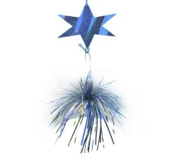 - Hologramlı Yıldız 5 Li Püsküllü Mavi Süs