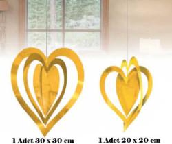 - İç İçe 2 Li Set Metalize Altın Kalp 2'li Pk.