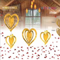 İç İçe 2 Li Set Metalize Altın Kalp 2'li Pk. - Thumbnail