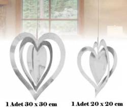 - İç İçe 2 Li Set Metalize Gümüş Kalp 2'li Pk.