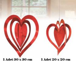 - İç İçe 2 Li Set Metalize Kırmızı Kalp 2'li Pk.