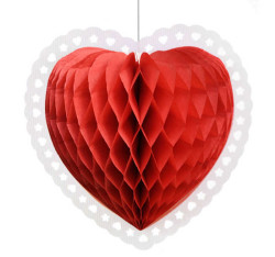 - Kalp Petek Modeli Kırmızı 38x40 cm