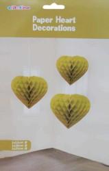 - Petek Modeli Kalpli 3 Lü Set Altın Asma Süs