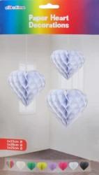- Petek Modeli Kalpli 3 Lü Set Beyaz Asma Süs