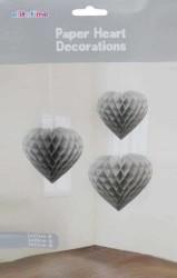 - Petek Modeli Kalpli 3 Lü Set Gümüş Asma Süs
