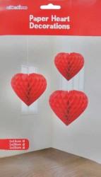- Petek Modeli Kalpli 3 Lü Set Kırmızı Asma Süs
