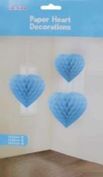 - Petek Modeli Kalpli 3 Lü Set Mavi Asma Süs