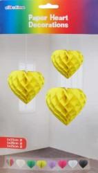 - Petek Modeli Kalpli 3 Lü Set Sarı Asma Süs