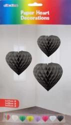 - Petek Modeli Kalpli 3 Lü Set Siyah Asma Süs