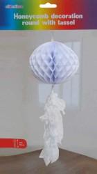 - Petek Modeli Püsküllü 25x85 cm Beyaz Asma Süs