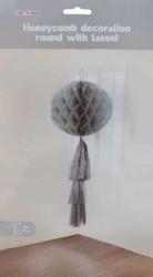 - Petek Modeli Püsküllü 25x85 cm Gümüş Asma Süs
