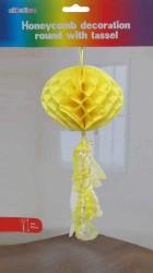 - Petek Modeli Püsküllü 25x85 cm Sarı Asma Süs