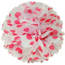 - Pelur Kağıttan Ponpon 35 cm Puantiyeli Kırmızı