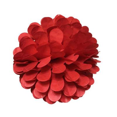 Petekli 3lü Set Kırmızı Ponpon