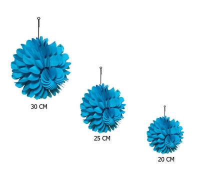 Petekli 3lü Set Mavi Ponpon