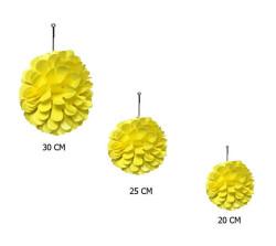 - Petekli 3lü Set Sarı Ponpon