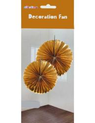 - Yelpaze Modeli 2li Set Asma Süs 35 cm Metalize Altın