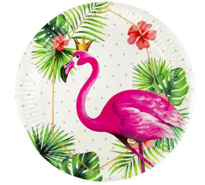 Tabak Flamingo Taçlı Karton 23 Cm Pk:8 Kl:24