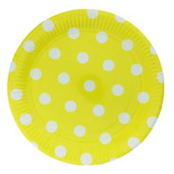- Puantiyeli Sarı Karton Tabak (23 cm) 8'li Paket