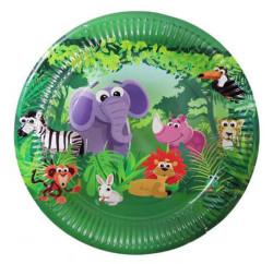 - Sevimli Hayvanlar (Safari) Karton Tabak (23 cm) 8'li Paket
