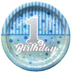 - Pırıltılı First Birthday Tabak Erkek Kağıt Tabak (23 cm) 8'li Paket