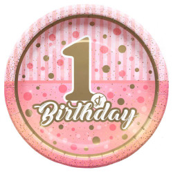 - Pırıltılı First Birthday Kız Kağıt Tabak (23 cm) 8'li Paket