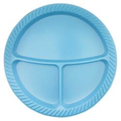 - 3 Bölmeli Mavi Plastik Tabak (26 cm) 25'li Paket