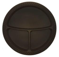 - 3 Bölmeli Siyah Plastik Tabak (26 cm) 25'li Paket