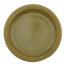 - Altın Yuvarlak Plastik Tabak (22 cm) 8'li Paket