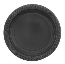 - Plastik Tabak Yuvarlak 22 cm Siyah