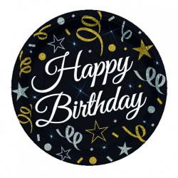 - Sparkling Confetti Birthday Tabak (23 cm) 8'li Paket