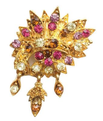 Yaprak Desenli Kristal Taşlı Altın Taç