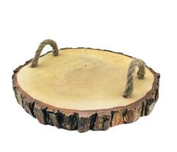 - Tepsi Ağaç Kütük Naturel İpli Yuvarlak