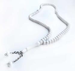 - 99 Luk Kristal Kesimli Beyaz Tesbih