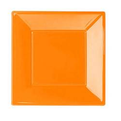 - Turuncu Küçük Plastik Kare Tabak (17x17 cm) 8'li Paket