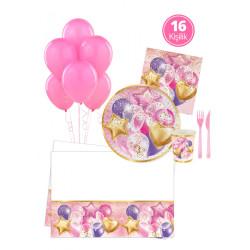 - Uçan Balonlar Pembe Parti Seti 16 Kişilik