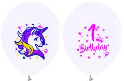 - Unicorn 1 Yaş Beyaz Balon 12 inç (25x30 cm) 100'lü Paket