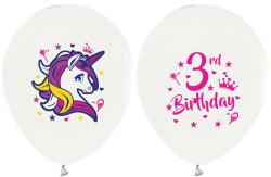 - Unicorn 3 Yaş Beyaz Balon 12 inç (25x30 cm) 100'lü Paket
