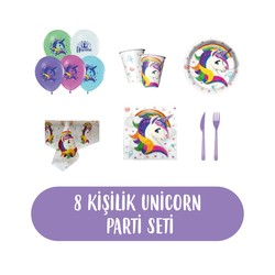 - Unicorn Doğum Günü Seti 8 Kişilik