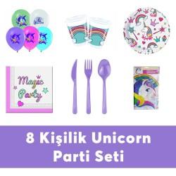 - Unicorn Doğum Günü Seti Eko Set 8 Kişilik