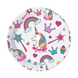 - Unicorn Kağıt Tabak (23 cm) 8'li Paket