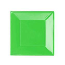 - Yeşil Küçük Plastik Kare Tabak (17x17 cm) 8'li Paket